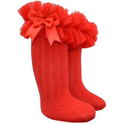 Girls Red Romany Frilly Knee Socks Tutu style With Satin Bows by Soft Touch