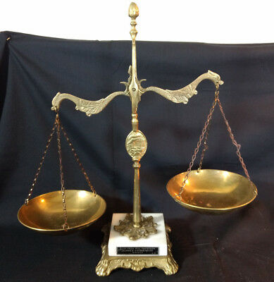 Vtg Marble And Antique Brass Scale Greece Made From Real Pentelikon Claw Feet
