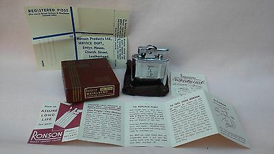 VINTAGE RETRO RONSON WHIRLWIND LIGHTER 1960,s IN VGC,WORKS & BOXED WITH PAPERS.