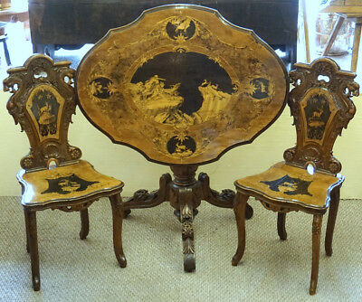 Antique Swiss Black Forest Wood Hunt Carved Inlay Table Chairs Brienz c1880 Stag
