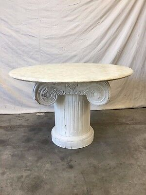 Vintage Marble Top Round Column Base Dining Table Accent Table