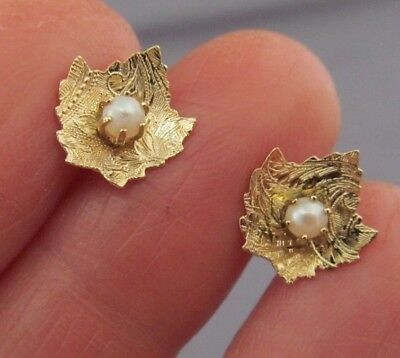 Vintage 14K Yellow Gold White Pearl Ball Bead Leaf Stud Pierced Earrings
