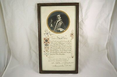 Framed Pope Benedict XV Papal Blessing / Benediction, Signed + Photo 1921 French
