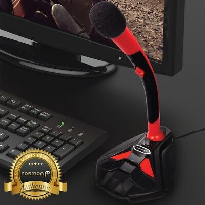 USB Microphone Stand Audio Recording LED Mic Studio Gaming PC Desktop Computer