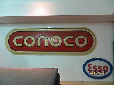 1970's Original CONOCO Gas Oil Embossed Plastic Face From Lit Sign