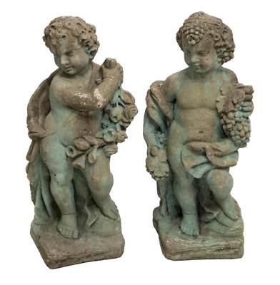 Pair of Italian Cast Concrete Garden Statuary Putti & Flowers Cherubs