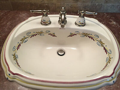 Kohler Artist Editions Hand Painted Porcelain Sink And Faucet Great Condition
