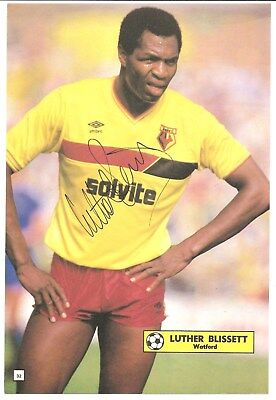Luther Blissett, Watford signed football book picture 10.5 x 7 inches.