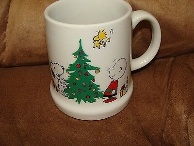 Peanuts Snoopy Charlie Brown Woodstock Mug Merry Christmas 1977