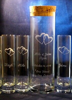 5 Pc Personalized Unity Sand Ceremony Set With 10x3 Vase Engraved