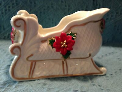 """NOS IVORY WITH GOLD PORCELAIN W/POINSETTIA """"SLEIGH"""" CANDY DISH / BOWl"""