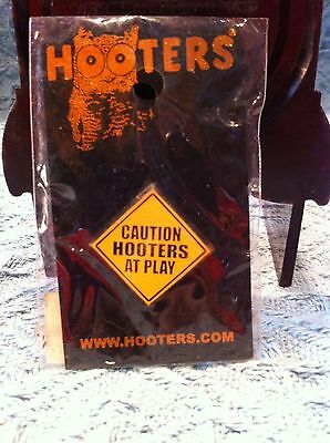 """Nos Hooters """"caution Hooters At Play"""" Sign Lapel Pin"""