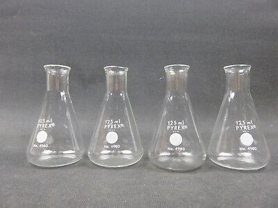 Corning Pyrex Glass 125mL Conical Erlenmeyer Flask 4980-125 LOT OF 4