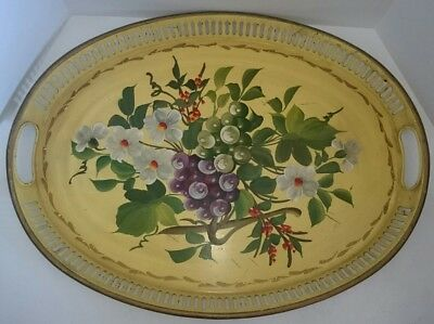 Vintage/Antique French/Italian Hand Painted Grape Bouquet Metal Tole Tray