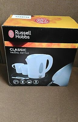 Russell Hobbs Classic Travel Kettle, 0.85 Litre 1 Kw, W/ 2 Cups & 2 Spoons White