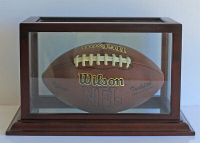 Football Display case Stand with wooden frame, Mirror bottom, FB03-MAH