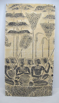 Paper Ink Stone Rubbing Angkor Khmer Relief Art Worship Temple Audience yqz