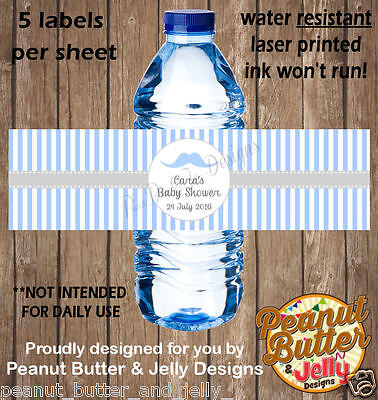 Blue & White Strpes Mo Baby shower WATER BOTTLE Sticker Labels - 5 Per Page