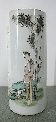 Republican Porcelain Hat Stand Painting Famille Rose Qianjiang Beauty Vase yqz
