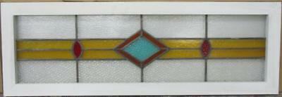 "LARGE OLD ENGLISH LEADED STAINED GLASS WINDOW Simple Geometric 41.25"" x 14"""