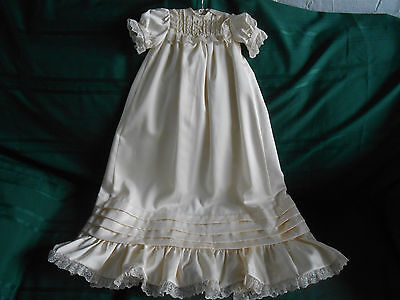 Beautiful Ivory Color Christening Outfit With Dress, Slip And Coat,  Circa 1940