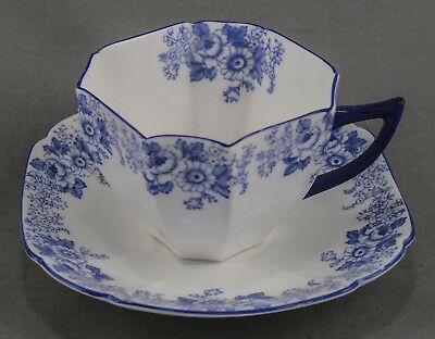"Shelley Queen Anne ""blue Rose & Daisy"" Cup & Saucer Excellent Condition #13935/b"