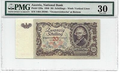 P-129a 1950 20 Schillings, Austria National Bank,  PMG Very Fine + 30
