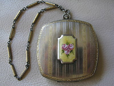 Antique Art Deco Silver Gold Yellow Guilloche Enamel Pink Floral Compact FMCo #1