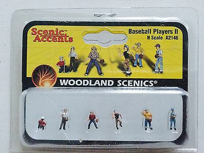 Woodland Scenics Accents 1/160 N Scale Baseball Players 2 # A2146 Factory Sealed