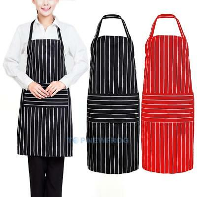 Plain Stripe Kitchen Apron with Front Pocket Chefs Butchers Cooking Baking TN2F