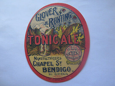 GLOVER & RUNTING TONIC ALE LABEL MANUFACTURERS CHAPEL St BENDIGO VICTORIA c1900
