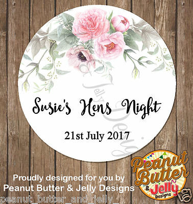Personalised Floral Hens Day Night Party Gloss Sticker Label 2 sizes available