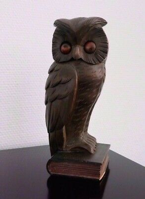 Oswald_Antique Rollng Eye Clock_Germany_Art Deco_Owl & Book_Carved Wood_Rare