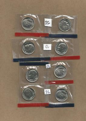 1986 P&D Roosevelt Dimes / 2 Uncirculated Coins Never Handled with Oily Fingers