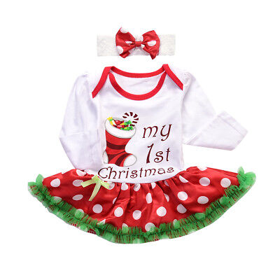 Toddler Baby Girls My first Christmas Clothes romper dress+Bowknot Headband