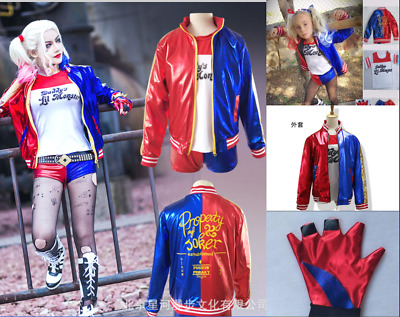 Adult&Kids Cosplay Suicide Squad Harley Quinn Movie Coat Jacket Costume suits