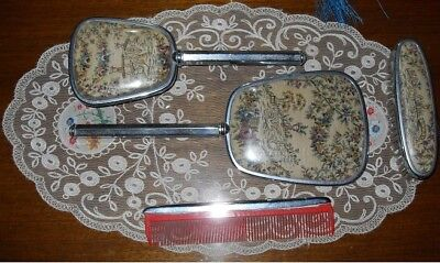 1920's VINTAGE CHROME DRESSING TABLE SET - VERY GOOD CONDITION