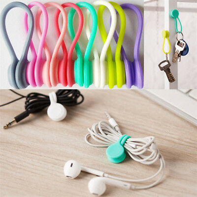 1/5/10 Pcs Silicone Earphone Clips Cord Winder Cable Organizer Magnetic Holder