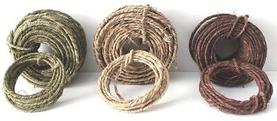 Rustic Craft / Florist Wire 3 - 5 mm Natural, Brown, Green 1 mt > 22 mt NEW !!