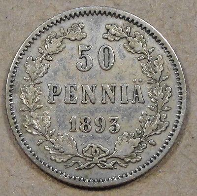 Finland 1893 50 Pennia Nice XF Russian Occupation