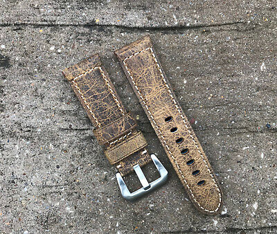 Brown Distress Leather Watch Strap Band Stainless Steel Buckle 24mm for Panerai