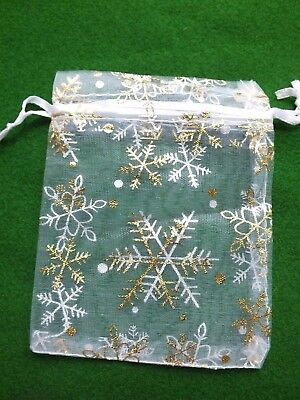 20 pcs 8x12cm Organza Bags White & Gold Snowflakes Christmas Jewellery Gifts UK