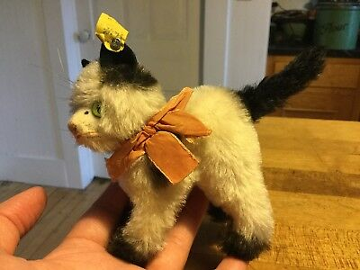 "Rare Antique Vintage German Steiff Gussy Cat Kitten W/ Id Miniature 4"" Excellent"