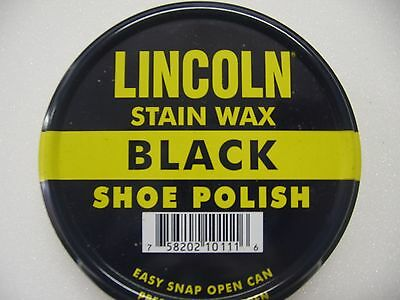 Lincoln Stain Wax Shoe Polish 3 ozs Military Army  BLACK  ONLY Made in USA