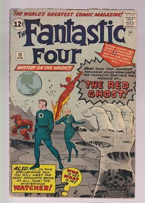 Fantastic Four # 13  Menace of the Red Ghost !  grade 3.5 scarce book !