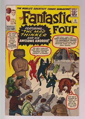 Fantastic Four # 15  The Mad Thinker & his Android !  grade 5.0 scarce book !