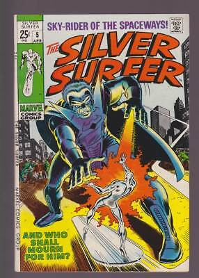 Silver Surfer # 5  And Who Shall Mourn For Him ?  grade 7.5 scarce book !