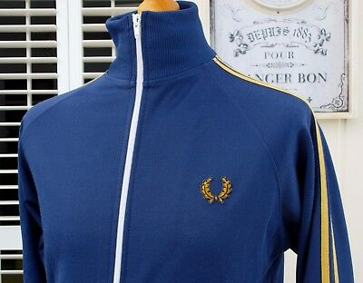 Fred Perry Royal Blue Twin Taped Track Jacket - S/M - Ska Mod Scooter Casuals