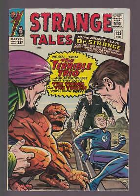 Strange Tales # 129  We Call Them the Terrible Trio !  grade 7.0 scarce book !