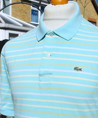 Lacoste Turquoise Striped Pique Polo - XXL - Size 7 - Mod Ska Scooter Casuals